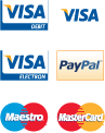 We accept Visa, Maestro, Mastercard, PayPal and more