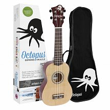 Octopus Coloured Ukulele with Case (Yellow Natural)