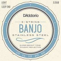 D'Addario EJS60 Stainless Steel Light 5 String Banjo – Loop Ended