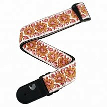 Planet Waves Woven Guitar Strap Peace Love Pink and White