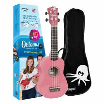 Octopus Coloured Ukulele with Case (Pink)