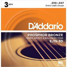 D'Addario Phosphor Bronze Acoustic Guitar Strings – 3 Set Pack