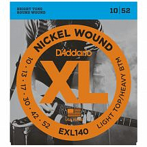 D'Addario EXL140 Nickel Wound, Light Top/Heavy Bottom Electric Guitar Strings, 10-52