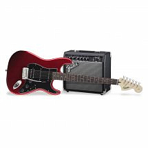Fender Squier Electric Guitar Pack with Candy Red Stratocaster & 15 watt Fender Amp