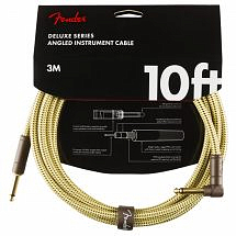 Fender Deluxe 10ft Straight/Angle Instrument Cable, Tweed