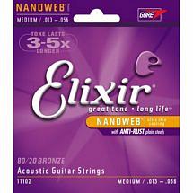 Elixir 'Nanoweb' Coated Acoustic Guitar Strings (80/20 Bronze)