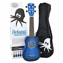 Octopus Coloured Ukulele with Case (Dark Blue Burst)