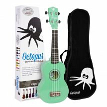 Octopus Coloured Ukulele with Case (Metallic Green)