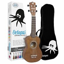 Octopus Coloured Ukulele with Case (Brown Natural)
