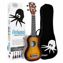 Octopus Coloured Ukulele with Case (Old Violin burst)