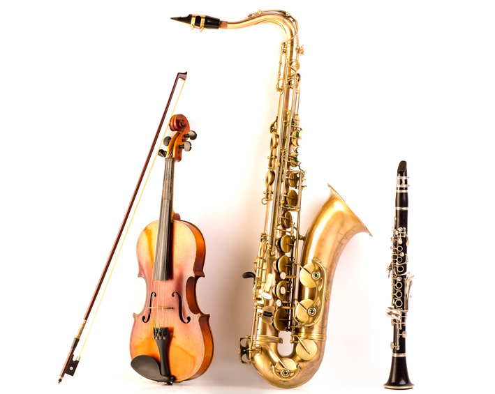 Music Sax tenor saxophone violin and clarinet