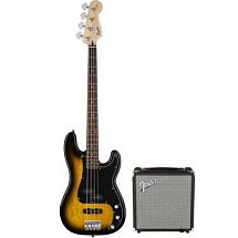 Fender Squier Affinity PJ Bass Pack in Brown Sunburst