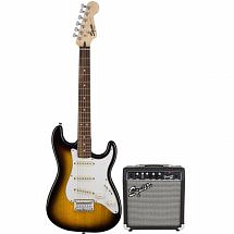 Fender Squier Short Scale Stratocaster Pack SSS in Brown Sunburst