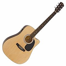 Squier SA-105CE Dreadnought Cutaway Electric Acoustic in Natural