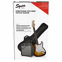 Squier Stratocaster Electric Guitar Pack, Brown Sunburst