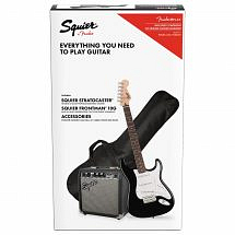 Squier Stratocaster Electric Guitar Pack, Black