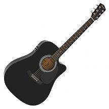 Squier SA-105CE Dreadnought Cutaway Electric Acoustic in Black