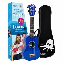 Octopus Coloured Ukulele with Case (Dark Blue)