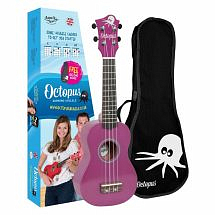 Octopus Coloured Ukulele with Case (Purple)