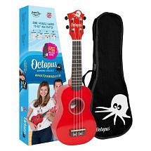 Octopus Coloured Ukulele with Case (Red)